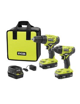 18 Volt One+ Lithium Ion Cordless 2 Tool Combo Kit With (2) 1.5 Ah Batteries, 18 Volt Charger, And Bag by Ryobi