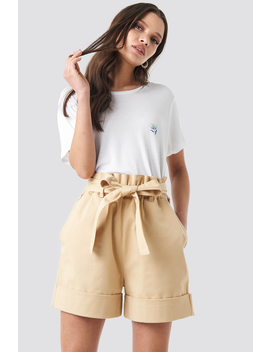 High Waist Chino Shorts Beige by Na Kd