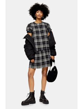 Check Puff Sleeve Mini Dress by Topshop