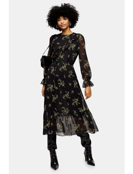 Yellow Wild Floral Print Frill Midi Dress by Topshop