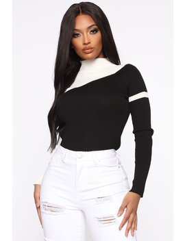 Set In My Ways Color Block Sweater   Black/White by Fashion Nova