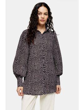 Black Animal Print Oversized Dot Shirt by Topshop