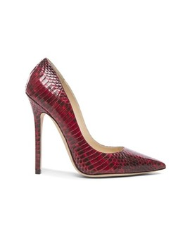 Red Anouk Elaphe Snakeskin Pointed New Pumps by Jimmy Choo