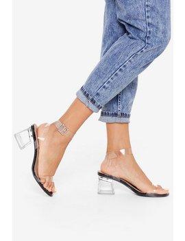 Hit Croc Bottom Clear Block Heels by Nasty Gal
