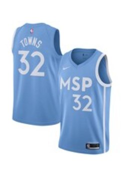 Men's Minnesota Timberwolves Karl Anthony Towns Nike Blue 2019/20 Finished City Edition Swingman Jersey by Nba Store