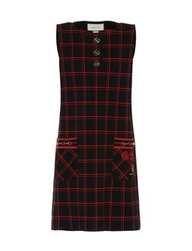 Plaid Wool Minidress by Gucci