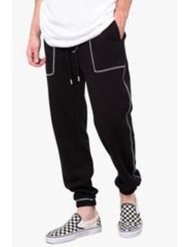 Black Contrast Stitch Jogger by Elwood Clothing