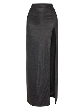 Black Glitter Side Split Maxi Skirt by Prettylittlething
