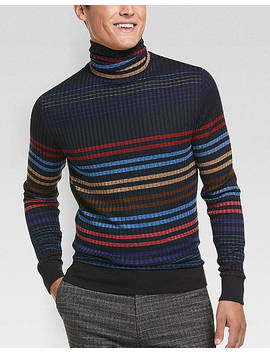 Paisley & Gray Slim Fit Turtleneck Sweater, Blue Multi Stripe by Paisley & Gray