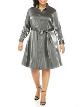 Plus Size Shimmer Shirtdress by Lauren Ralph Lauren