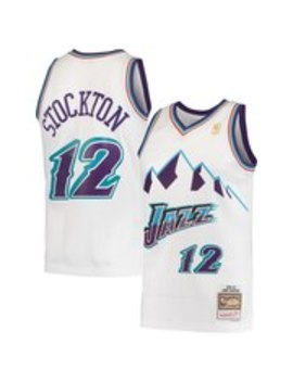 Men's Utah Jazz John Stockton Mitchell & Ness White Hardwood Classics 1996 97 Swingman Jersey by Nba Store