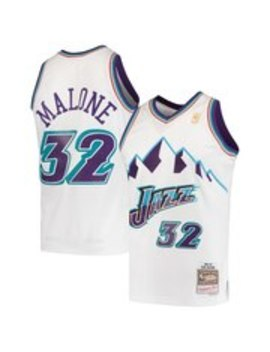 Men's Utah Jazz Karl Malone Mitchell & Ness White Hardwood Classics 1996 97 Swingman Jersey by Nba Store
