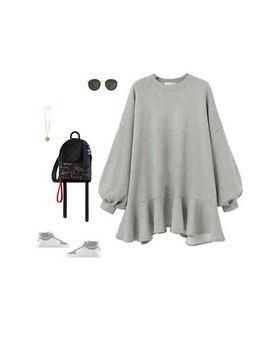 Fashion Women T Shirt Dress Bat Sleeve Sweatshirt Short Ruffle Dresses Plus Size by Ebay Seller