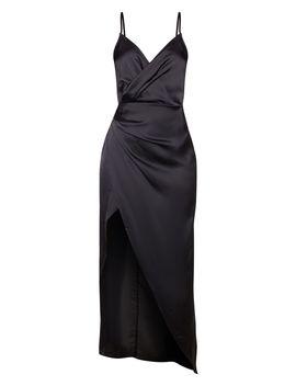 Petite Black Satin Wrap Detail Maxi Dress  by Prettylittlething