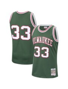 Men's Milwaukee Bucks Kareem Abdul Jabbar Mitchell & Ness Hunter Green 1970 71 Hardwood Classics Swingman Jersey by Nba Store