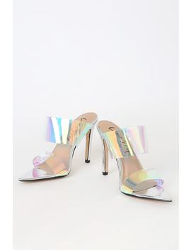 Pront Silver Pointed Toe High Heel Sandals by Lemon Drop By Privileged