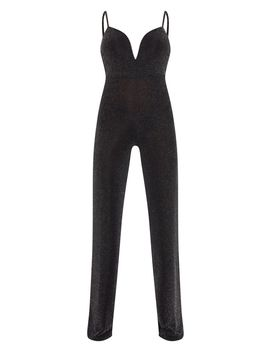 Black Textured Glitter V Bar Bandeau Jumpsuit by Prettylittlething
