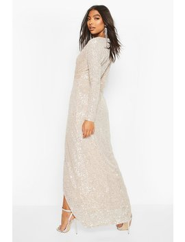 Tall Sequin Plunge Wrap Maxi Dress by Boohoo
