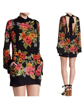 New Free People 2am Black Floral Mini Dress XsNwt by Free People