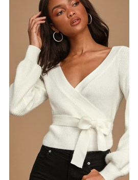 Doing My Thing White Knit Balloon Sleeve Wrap Sweater Top by Lulus
