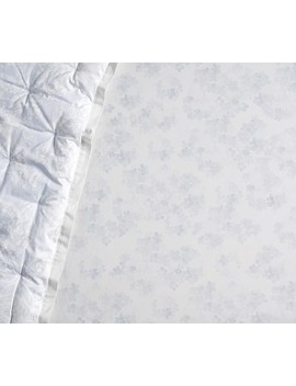 Monique Lhuillier Something Blue Sateen Floral Fitted Crib Sheet by Pottery Barn Kids