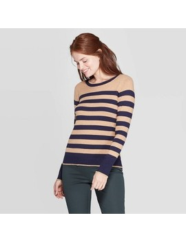 Women's Striped Long Sleeve Ribbed Cuff Crewneck Pullover Sweater   A New Day™ by A New Day