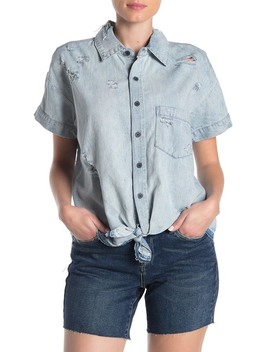 Tie Front Distressed Denim Shirt by Blanknyc Denim