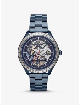 Oversized Merrick Blue Tone Watch by Michael Kors