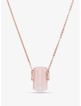 14 K Rose Gold Plated Sterling Silver Rose Quartz Necklace by Michael Kors