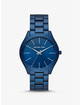 Slim Runway Blue Tone Aluminum Watch by Michael Kors