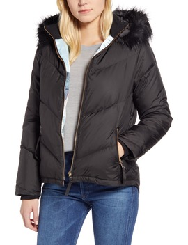 Faux Fur Trim Down Puffer Jacket by Ted Baker London
