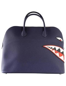 Hermes Bolide Runway Bag Shark Monster Unisex Blue Indigo Limited Edition by 1 Stdibs