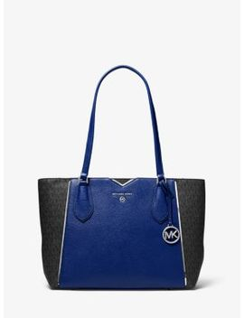 Mae Medium Pebbled Leather And Logo Tote Bag by Michael Michael Kors