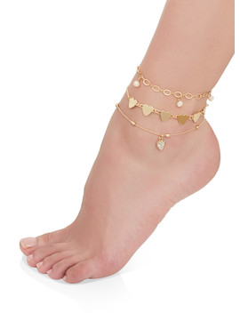 Heart Charm Anklet Trio by Rainbow