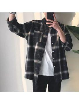 Chuoku   Fringed Hem Plaid Shirt by Chuoku