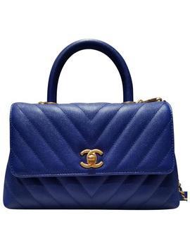 Coco Handle Mini Chevron Mini Blue Caviar Cross Body Bag by Chanel