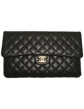 Timeless Classic Quilted Black Lambskin Leather Clutch by Chanel