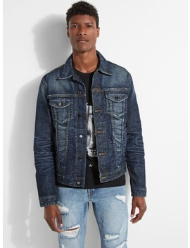 Dillon Distressed Denim Jacket by Guess