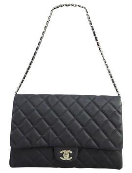 Classic Flap Clutch Vintage Black Calfskin Leather Shoulder Bag by Chanel