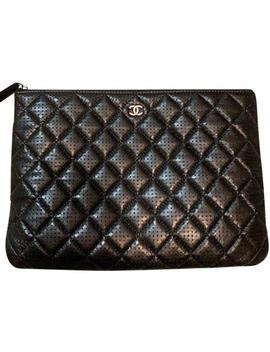 Medium O Case/ Black Leather Clutch by Chanel
