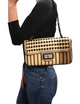 "2.55 Reissue Cannes Limited Edition ""Cannes"" Reissue Beige/Black Wicker Shoulder Bag by Chanel"