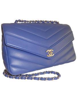Chevron Medium Caviar 2018 Blue Leather Shoulder Bag by Chanel