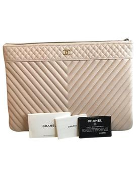 Case Chevron Large Light Pink Caviar Clutch by Chanel