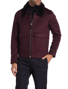 Blackheath Detachable Genuine Shearling Collar Jacket by Burberry