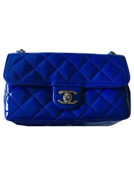 Classic Flap Classic Mini Blue Patent Leather Cross Body Bag by Chanel