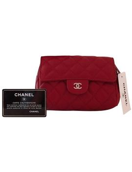 Cosmetic Pouch Classic Flap Red Lambskin Leather Clutch by Chanel