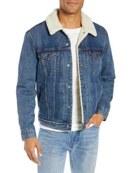 Faux Shearling Trim Denim Trucker Jacket by Levi's®