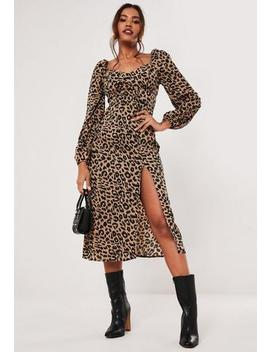 Brown Leopard Print Milkmaid Split Midi Dress by Missguided