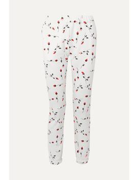 Floral Print Cotton Blend Fleece Track Pants by Adam Selman Sport