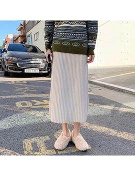 Moon City   Ribbed A Line Midi Knit Skirt by Moon City